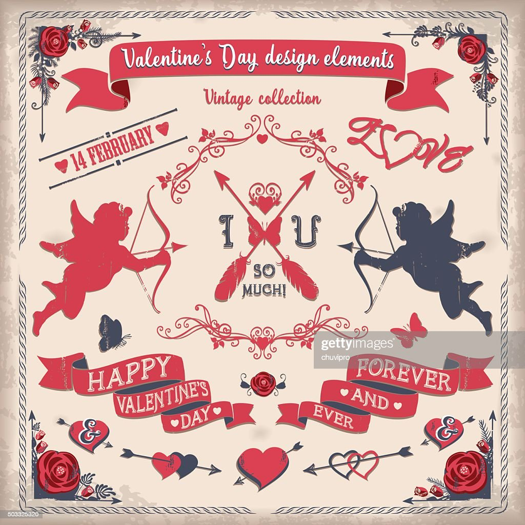 Valentine's Day tricolor vintage design elements set