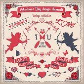 Valentine's Day tricolor vintage design elements set