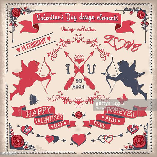 stockillustraties, clipart, cartoons en iconen met valentine's day tricolor vintage design elements set - cupidon