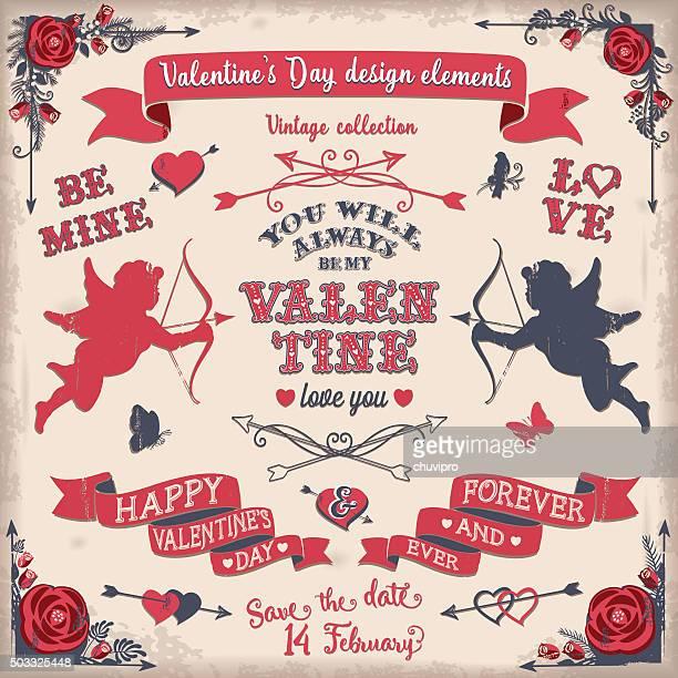 La Saint-Valentin ensemble d'éléments de design vintage tricolor