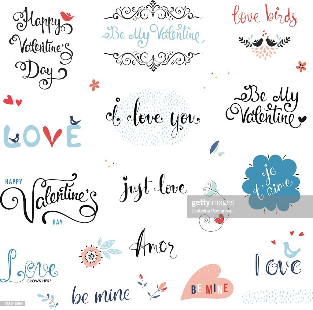 Valentines Day Typographic Design Set