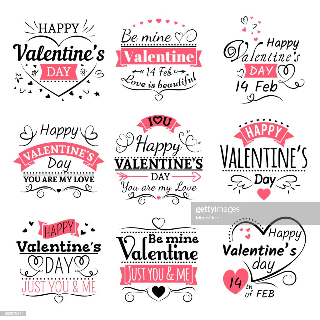 Valentines Day typography, ribbon banners and decoration elements vector set