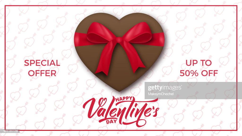 Valentines Day. Valentines background with script lettering, chocolate present and realistic silk gift bow. Valentine's Day banner.