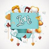 Valentine's Day vector background. Origami speech bubble