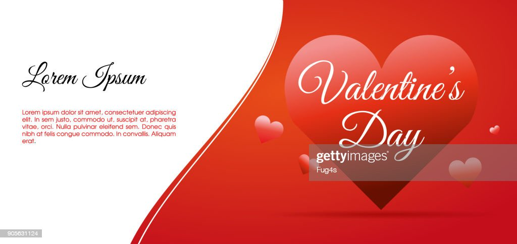 Valentines day vector card illustration background with big hearts and white space. Use for wallpaper, flyers and banners.