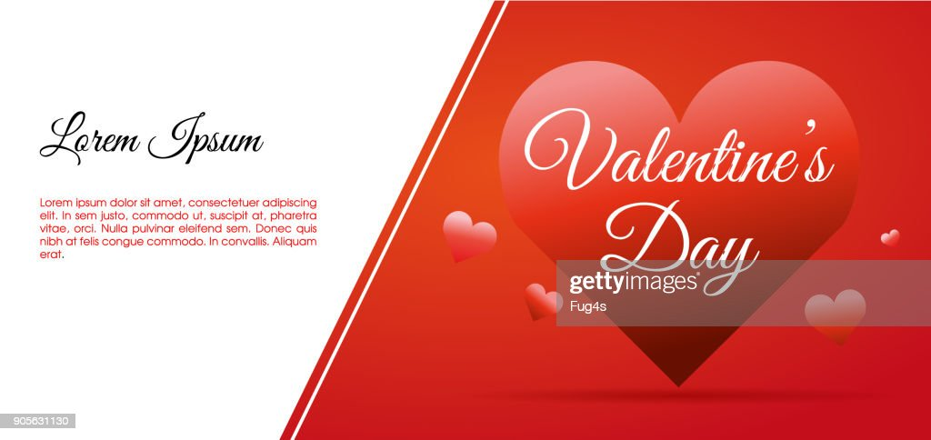 Valentines day vector card illustration background with big hearts and white space for text. Use for wallpaper, flyers and banners.