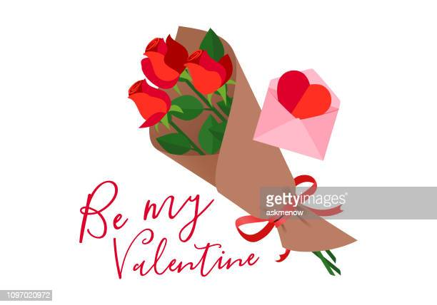 valentine's day - bouquet stock illustrations