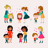Valentines day vector loving family mothers day mom and kids valentine lovely heart girl or boy kissing and hugging child with gift flowers and balloons illustration isolated on white background