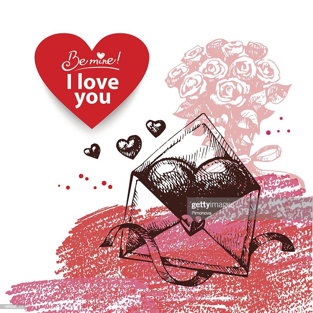 Día de San Valentín fondo vintage : Arte vectorial