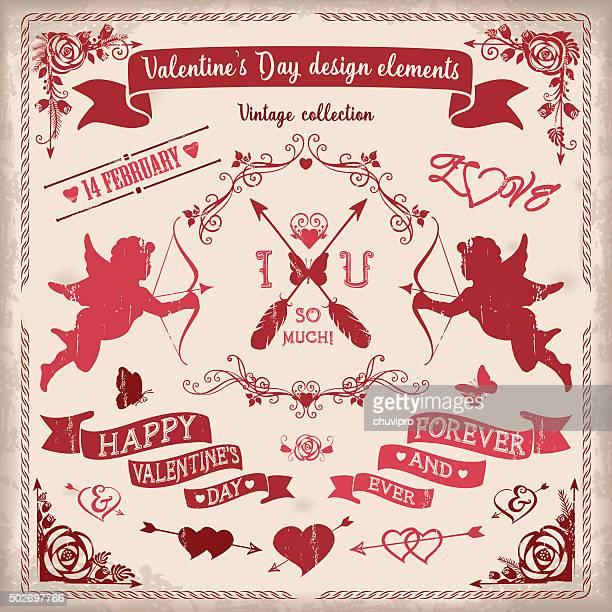 valentines day vintage design elements set in burgundy colors vector