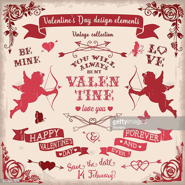 valentine's day vintage design elements set in burgundy colors - cupid stock illustrations