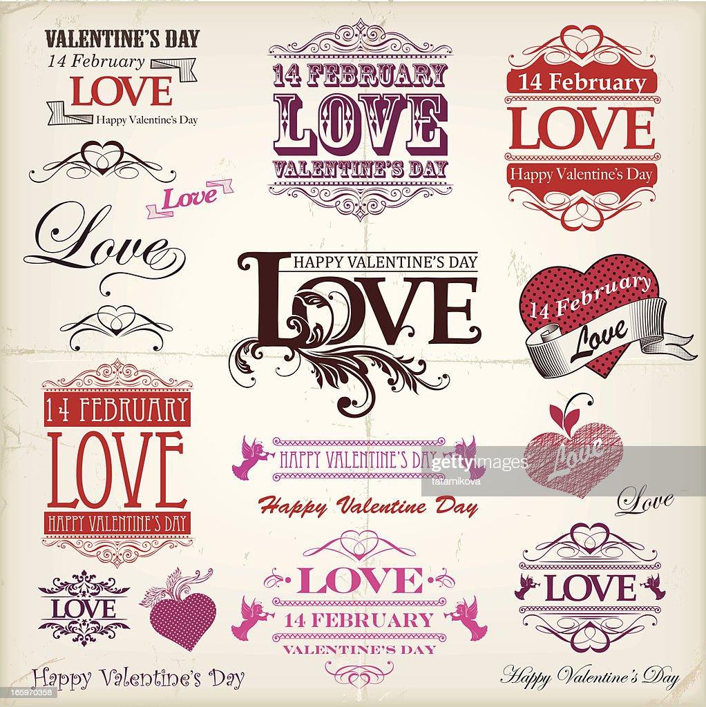 Valentine`s Day vintage design : Vector Art