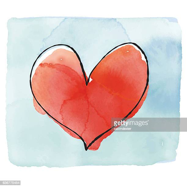 Valentines Day watercolor greeting card