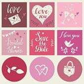 Valentines day, wedding cards set