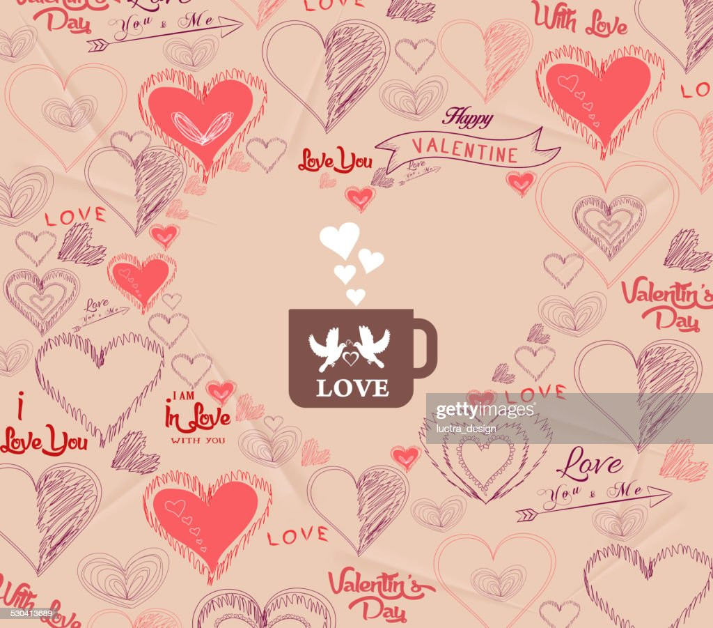 8017382d04 Valentines Day With Bird Couple In Cup Stock Illustration - Getty Images