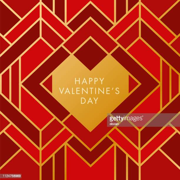valentine's day with geometric heart. art deco style. - art deco stock illustrations