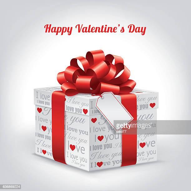 ilustraciones, imágenes clip art, dibujos animados e iconos de stock de valentine's day with gift box and blank tag - i love you