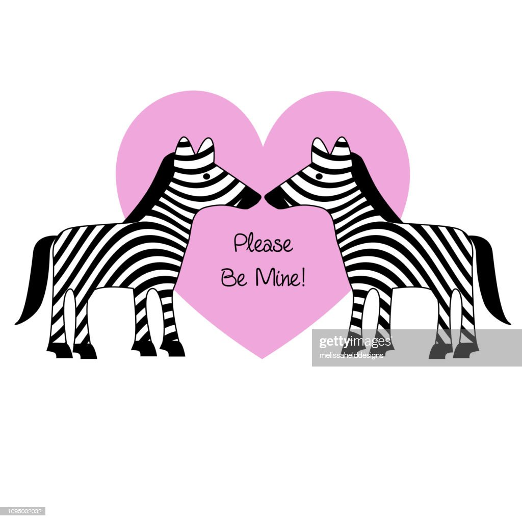 valentines day zebras with pink heart