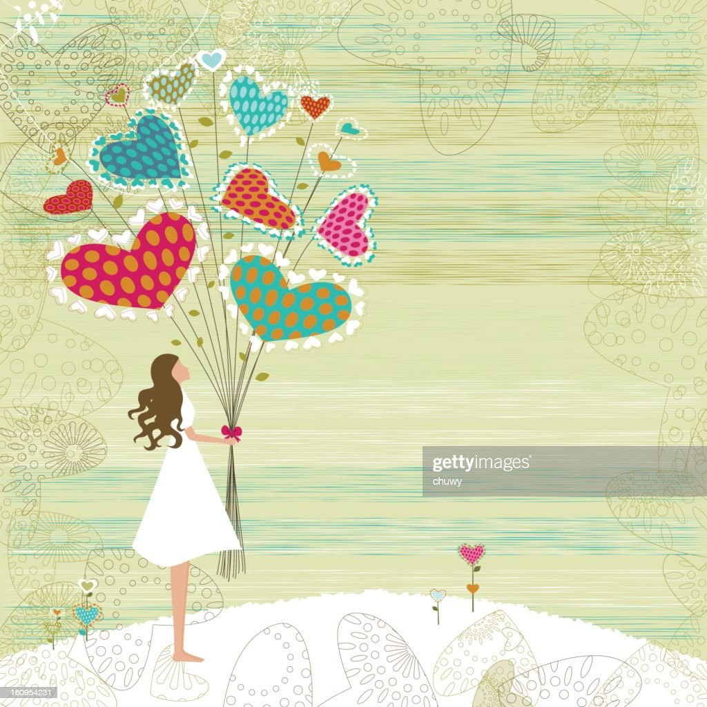 Valentine's girl with bunch of flowers : Vector Art