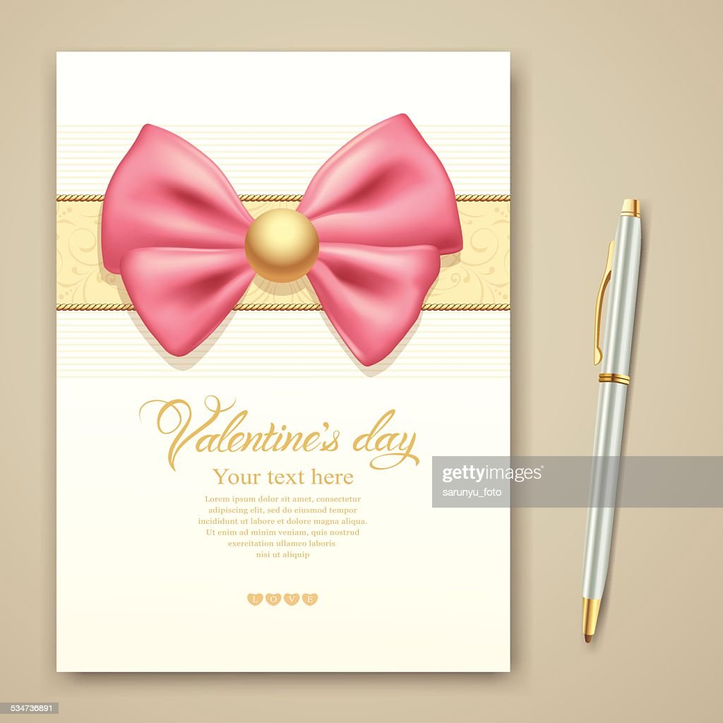 Valentines Greeting Card Pink Ribbon And Pen Vector Art Getty Images