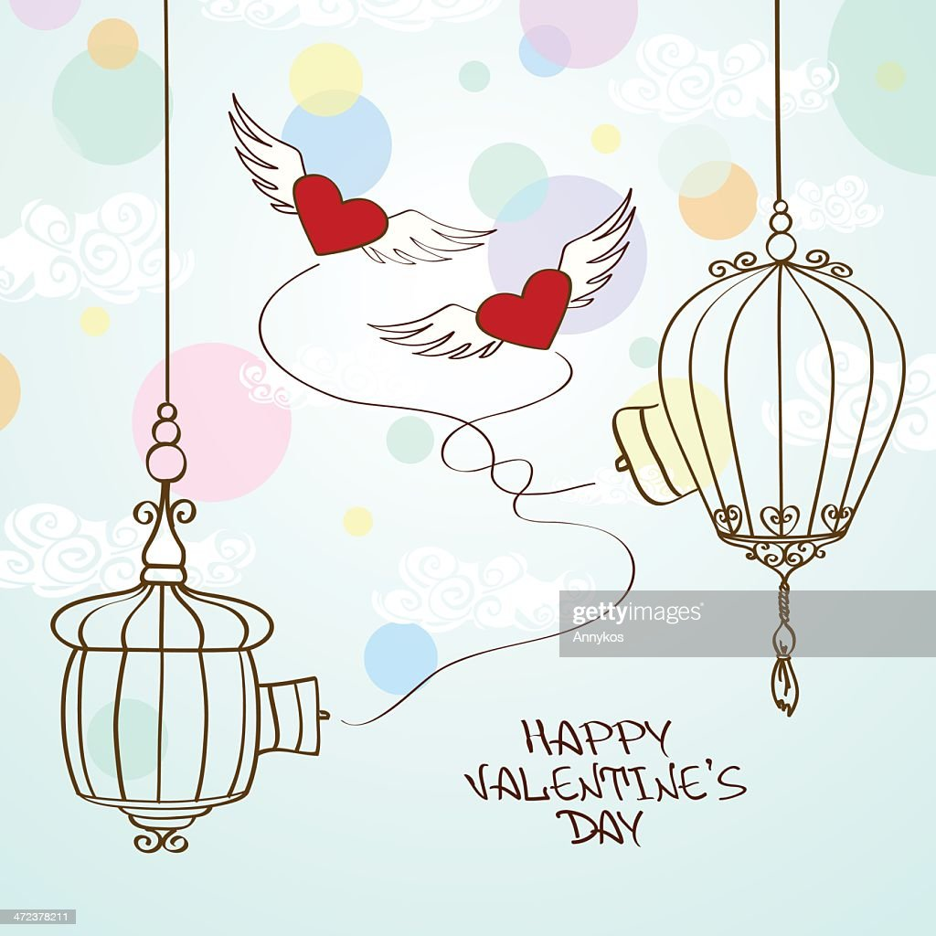 Valentines Greeting Card With Concept Hearts And Cage Vector Art