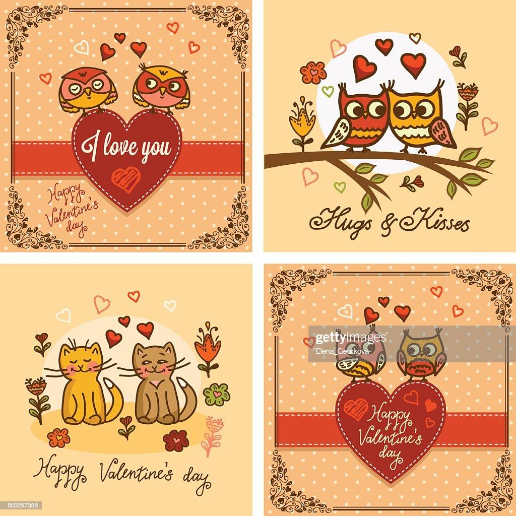 valentines greeting cards set