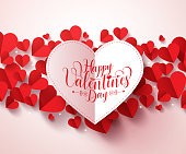 Valentines greetings card design in white with happy valentines day