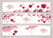 Valentines horizontal banners, tree with hearts