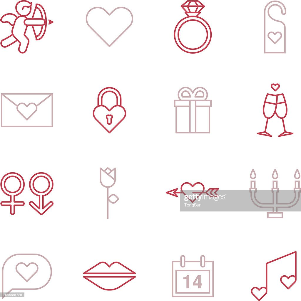 Valentines Icons - Line Color Series