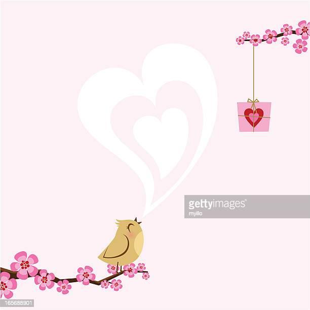 valentine´s love bird. spring sakura - february stock illustrations, clip art, cartoons, & icons