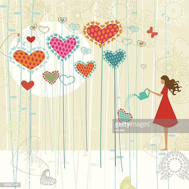 Saint-Valentin Amour sur le jardin