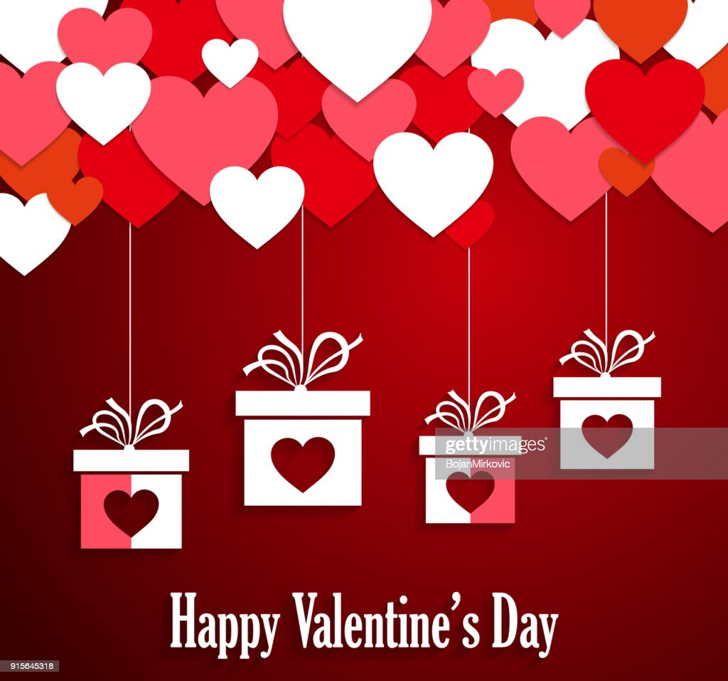 Valentines poster with hanging gifts.  Hearts on red background. Vector illustration. : stock illustration