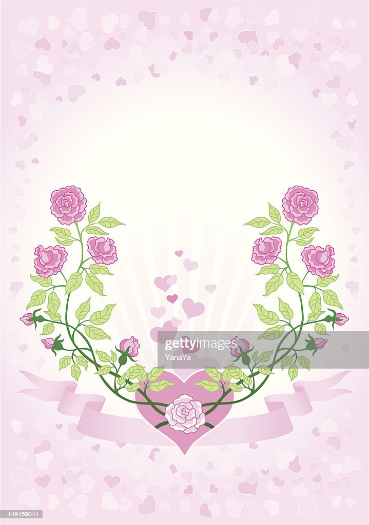 valentines roses and hearts greeting card / white