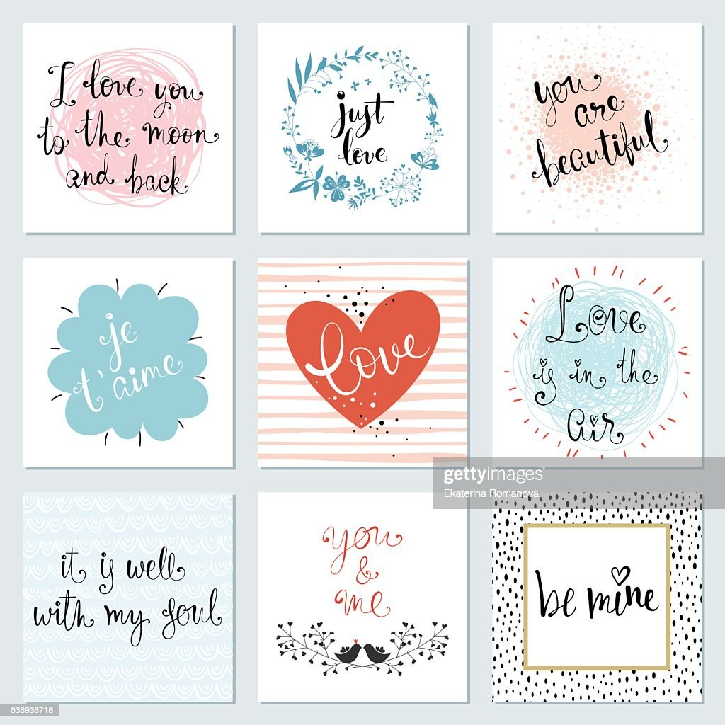 Valentines Typography Cards Set