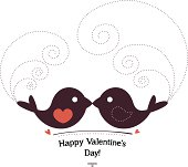 Valentin`s Day card with birds