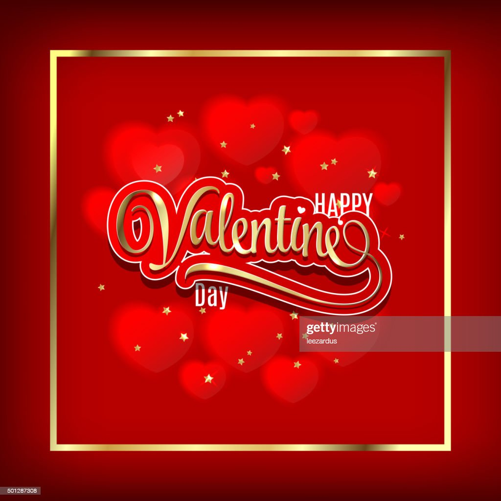Valentin`s Day Card With fuzzy hearts. Gold ornate lettering
