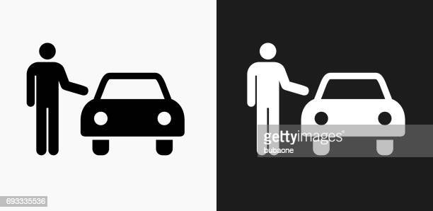 Valet Parking Car Icon on Black and White Vector Backgrounds