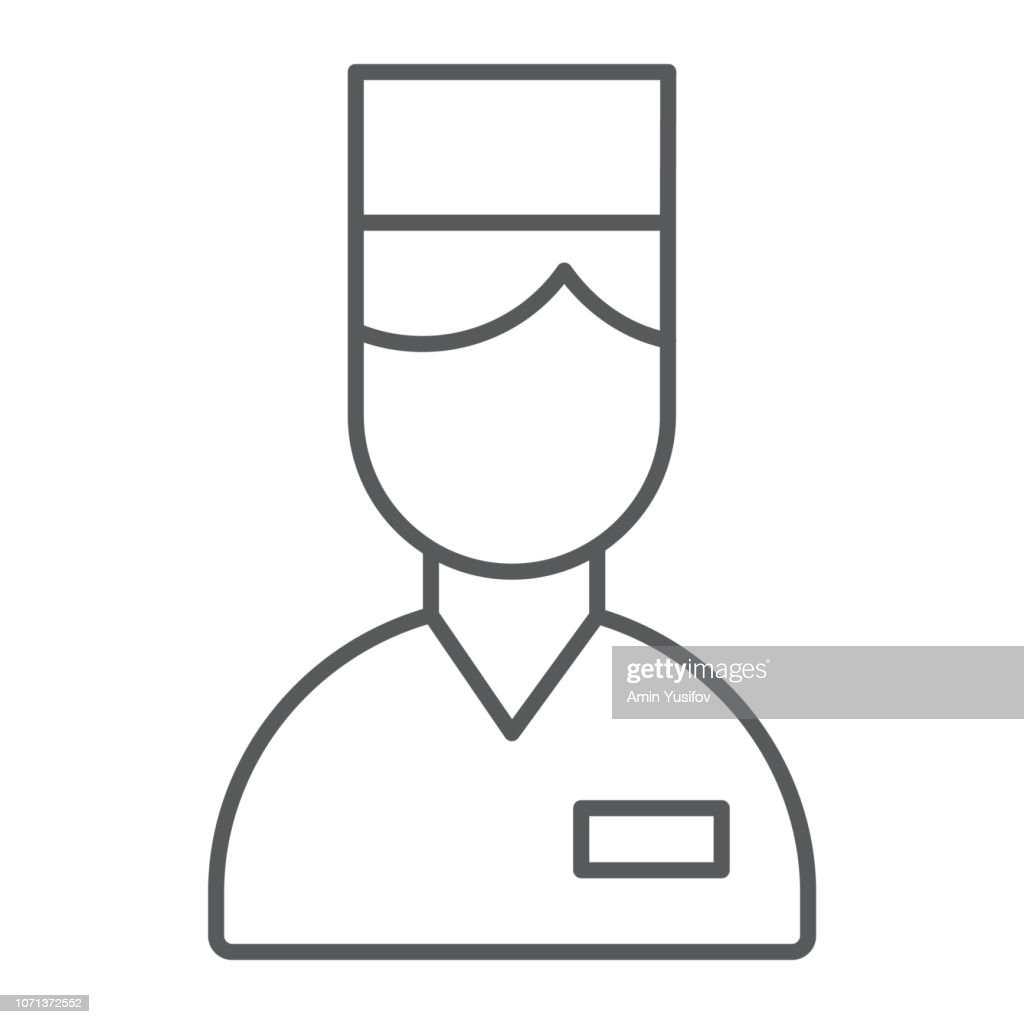 Valet thin line icon, hotel and service, concierge sign, vector graphics, a linear pattern on a white background.