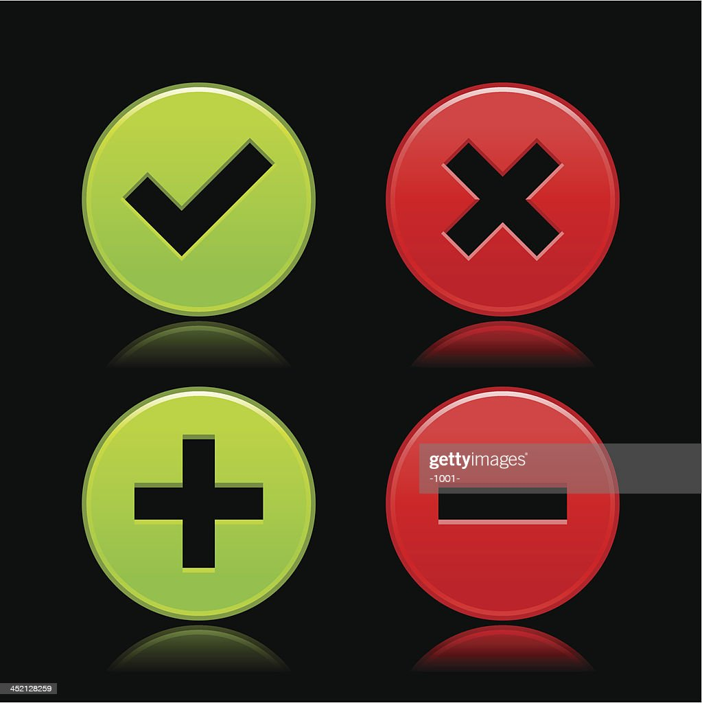 Validation icon check mark delete plus minus sign circle button