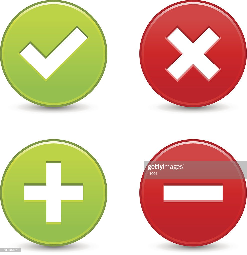 Validation icon circle button plus minus check mark delete sign