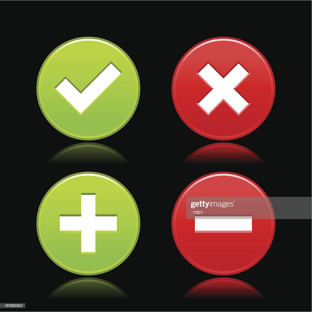 Validation icon plus minus check mark delete sign circle button