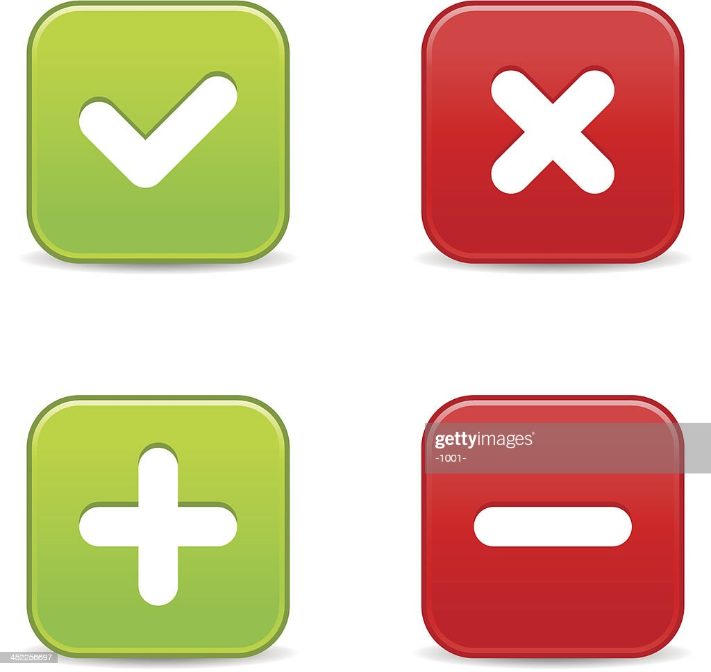 Validation icon square button plus minus check mark delete sign