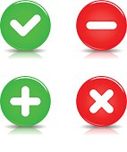 Validation sign glossy circle icon red green button shadow reflection
