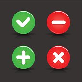 Validation sign glossy icon circle red green button shadow reflection