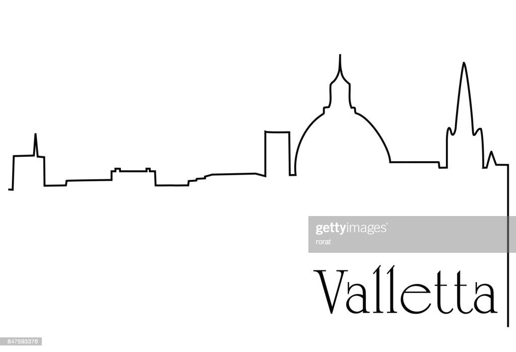 Valletta city one line drawing