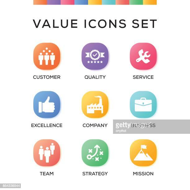 Value Icons Set on Gradient Background