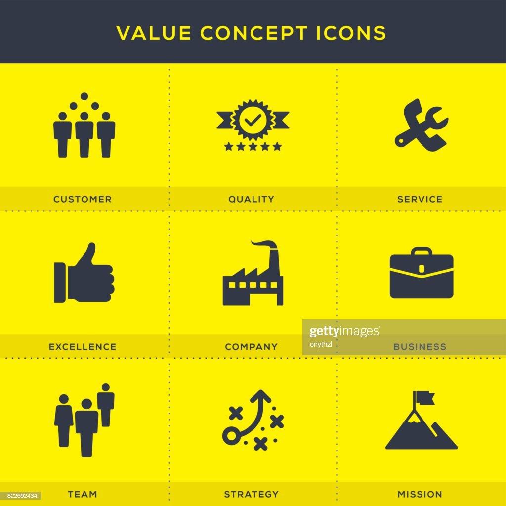 Value Icons Set : stock illustration
