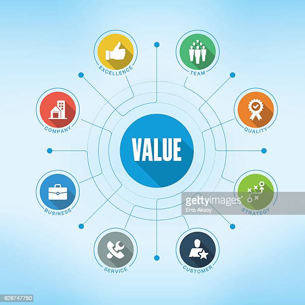 value keywords with icons - will stock illustrations, clip art, cartoons, & icons