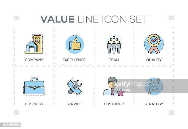 Value keywords with line icons