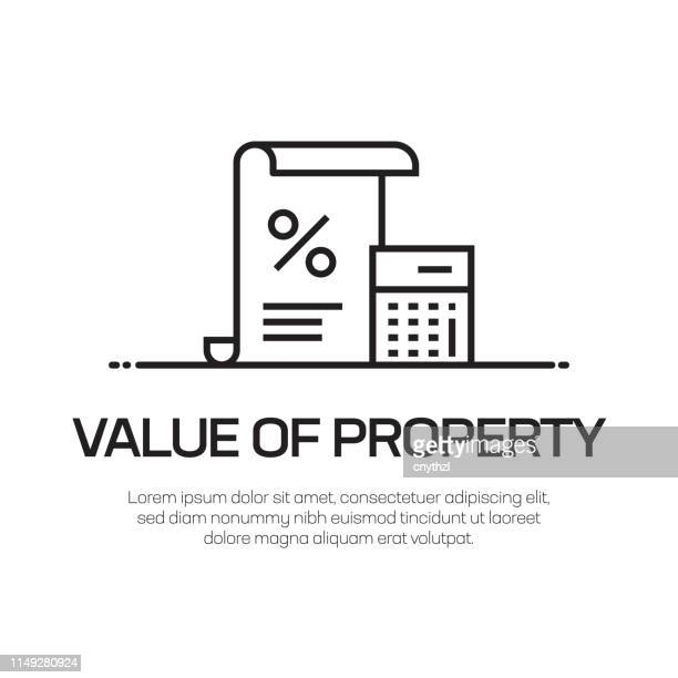 value of property vector line icon - simple thin line icon, premium quality design element - tall high stock illustrations